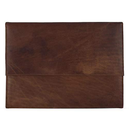 ROYALZ Ledertasche für Apple MacBook Pro 13 2016/2017 Tasche (13,3 Zoll) Leder Schutz Hülle Cover Schutztasche Sleeve Zubehör, Farbe:Cognac Braun