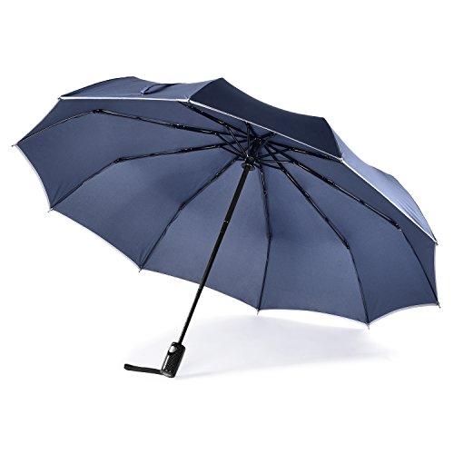 Geebright Taschenschirm automatische Collapse Regenschirm , ein schnelltrocknend Top, 10 Regenschirm Rippen 395g - Navy blau