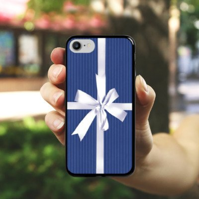 Apple iPhone X Silikon Hülle Case Schutzhülle Geschenk Schleife Blau Hard Case schwarz