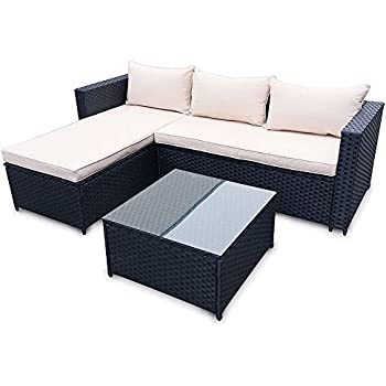 Amazon.de: POLY RATTAN Set Gartenmöbel Rattan-Lounge Gartenset ...