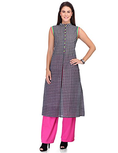 IndusDiva by Neeta Lulla Straight Cut Kurta Set (MUM0770009_Black and White_Medium)