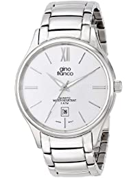 gino franco Men's 943WT Round Stainless Steel Bracelet Watch