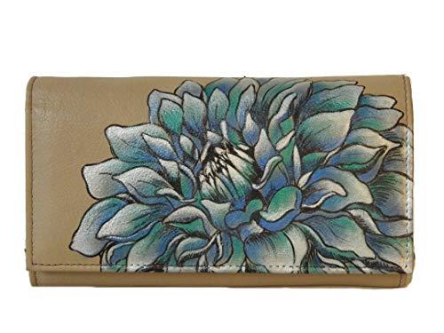 Anuschka Handtasche/Hobo handbemalt Leder Tasche-1043Multi Pocket Geldbeutel/Kupplung Mehrfarbig Dreamy Dahlias (Leder Anuschka Handtaschen)