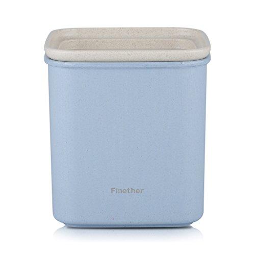 Finether Recipiente de Almacenamiento de Alimentos (Material de la Paja de Trigo  Ecológico  Sano  Seguro  Sellado  Cuadrado  10.5cm) Azul