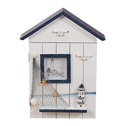 Vosarea Cajas de Almacenamiento de Madera para el hogar de Cajas de Llaves para la decoración del hogar (Faro Superior Azul)