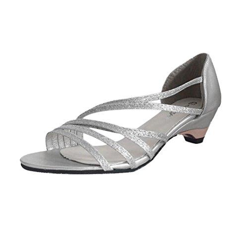Transer® Damen Sandalen Mode Keilabsatz Kunstleder+Kunststoff Gürtel Silber Lila Gold Sandalen (Bitte achten Sie auf die Größentabelle. Bitte eine Nummer größer bestellen) Silber