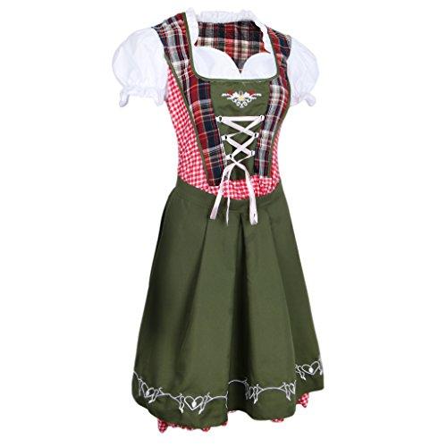 P Prettyia Vintage Dirndl Trachtenkleid Oktoberfest Kleid mit Schürze für Damen, Dunkelgrün, S/M/L/XL/XXL Auswahl - ()