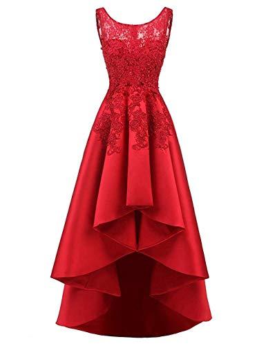 HUINI Elegant Abendkleider Ärmellos Spitzenkleider Vintage Cocktail Partykleider Wadenlang Satin Brautkleider Hochzeitskleider Rot 40 - Quinceanera Kleider Kleider