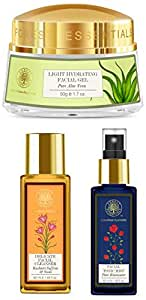 Forest Essentials Facial Toner, Pure Rosewater, 50ml, Delicate Facial Cleanser, Saffron and Neem, 50ml, Pure Aloe Vera Light Hydrating Gel, 50g