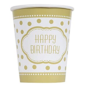 Unique Party- Vasos de Papel Fiesta de Cumpleaños, 8 Unidades, Color dorado, 266 ml (49586)