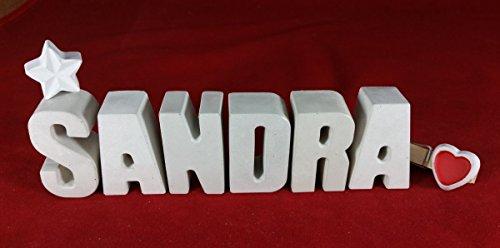 Beton, Steinguss Buchstaben 3 D Deko Schriftzug Namen SANDRA als Geschenk verpackt! Ein ausgefallenes Geschenk zur Geburt, Taufe, Geburtstag, Namenstag oder auch zu anderen Anlässen. 7