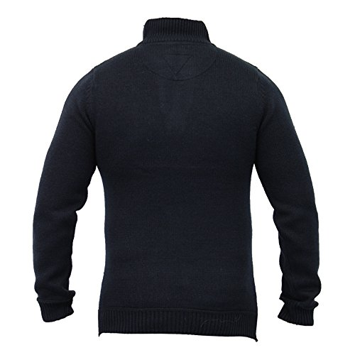 Threadbare - Pull Homme Tricot Mélange Laine Jacquard Hiver Bleu Marine - IMT069