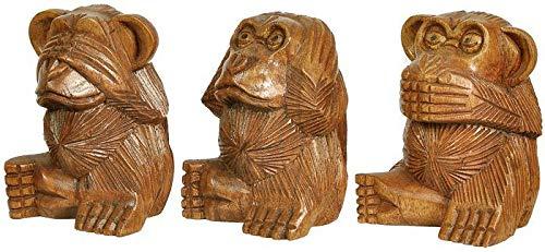 Woru Die Drei Affen, Nichts hören, Nichts Sehen, Nichts Sagen, ca. 10 cm aus Soar-Holz, handgeschnitzt