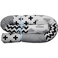 Bettschlange, Bettrolle, schwarz/weiß/grau 120cm- 200cm