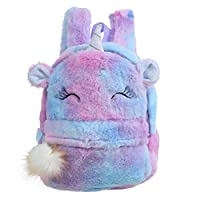 TENDYCOCO Backpack Kids Plush Unicorn School Bag Cute Cartoon Bookbag Furry Travel Daypacks for Baby Kids Girls - Violet