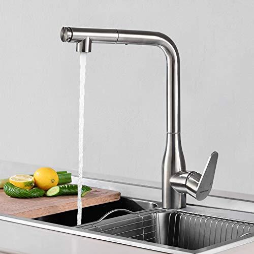 BONADE Wasserhahn Küchenarmatur 360° schwenkbare Armatur mit herausziehbarer Brause Spültischarmatur Edelstahl Gebürstet Einhebel Mischbatterie Waschtischarmatur Küche Spüle
