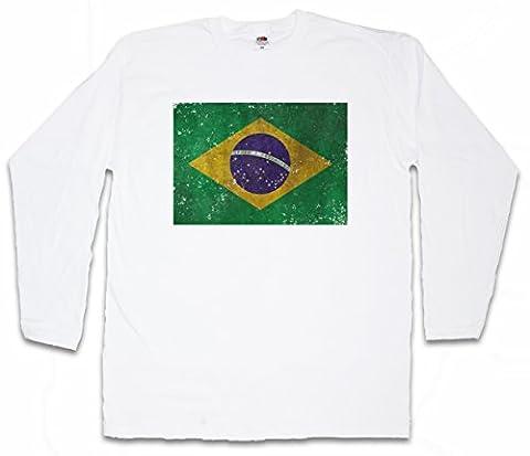 BRAZIL FLAG VINTAGE LOGO T-SHIRT à MANCHES LONGUES - Brasil Drapeau Brésil Brasilia Banner WM Retro Tailles S - 5XL