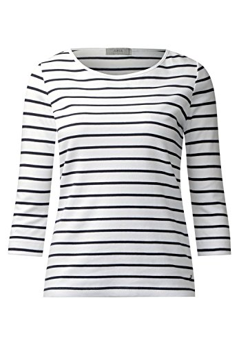 Cecil Damen Streifenshirt IM Basic Style Pure Off WhiteM (Arm T-shirt 3/4)