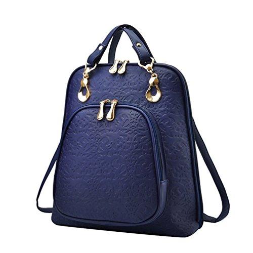 WanYang Multifunzione Donna Zaino Di Moda Vintage Zaino Per Ragazze Borse In Pelle Impermeabile Profondo Blu