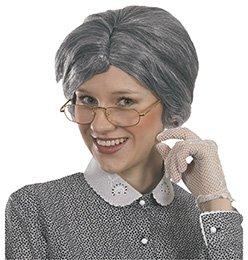 Alte Dame Perücke grau Mittelscheitel Oma Accessoire Karneval Halloween