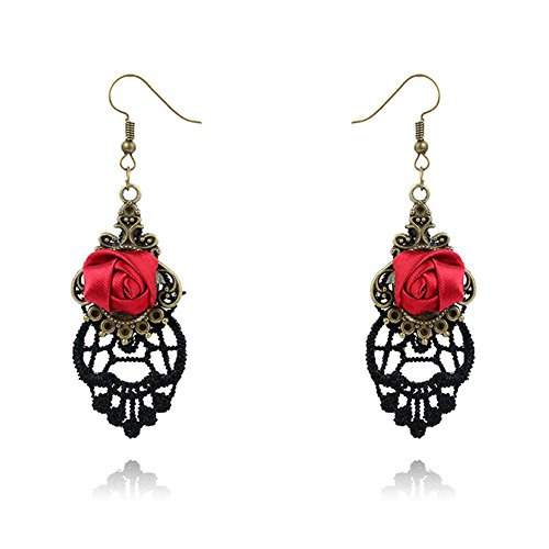 Dylandy Pendientes de oreja de encaje gótico gancho gota pendientes roja rosa Rhinestone pendientes para mujeres moda joyería regalo