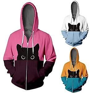 Floweworld Unisex Casual Kapuzenmäntel Nette Katze Gedruckt Colorblock Patchwork Hip Hop Reißverschluss Jacken Mode Langarm Mantel mit Taschen