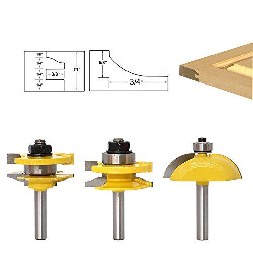 AKUTA 38mm Schaft erhöhte Panel Tür Router Bit Set Holz-Cutter Holz-Router Bits Hartmetall Bit Tür Schrank Messer