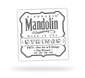 D'Addario FW74 Flatwound Mandolin Strings, Phosphor Bronze ...