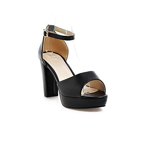 VogueZone009 Donna Luccichio Finta Pelle Scamosciata Fibbia Tacco Alto Heeled-Sandals Nero