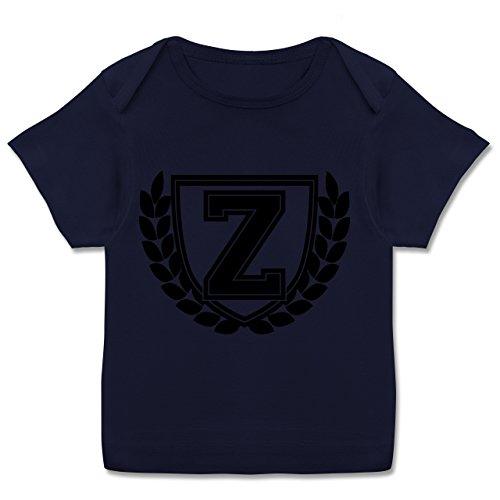 Anfangsbuchstaben Baby - Z Collegestyle - 80-86 (18 Monate) - Navy Blau - E110B - Kurzarm Baby-Shirt für Jungen und Mädchen in verschiedenen Farben