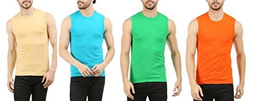 Clifton Men's Sleeveless T-Shirt Pack Of 4-Saffari-Deep Aqua-Z-Green-Fanta Orange-9XL