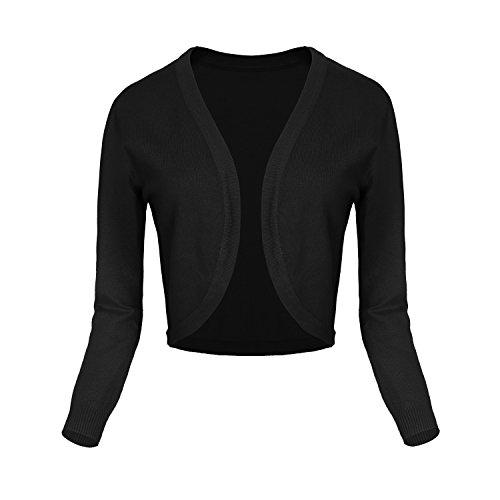 Damen V-Ausschnitt Kurz-Strickweste Strickjacke 3/4 Ärmel #2 schwarz