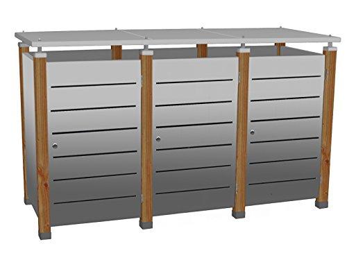 Mülltonnenbox Modell Pacco E Line für drei 240 ltr. Tonnen in Edelstahl
