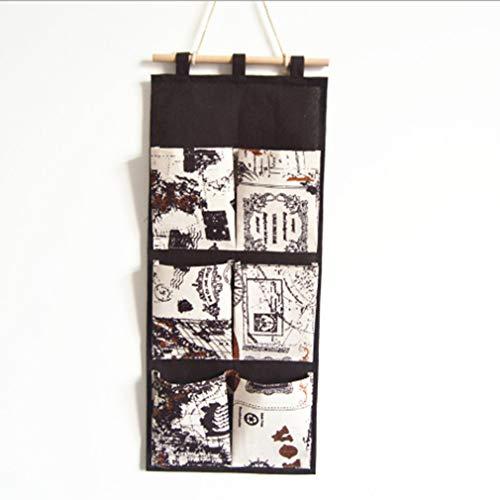 Traditionelle Wand-tasche (Kingus Aufbewahrungstasche Wand Tür Hängende Tasche Traditionelle Leinen Baumwolle Stil Haushalt Schutt Tasche, Kaffee Boden)