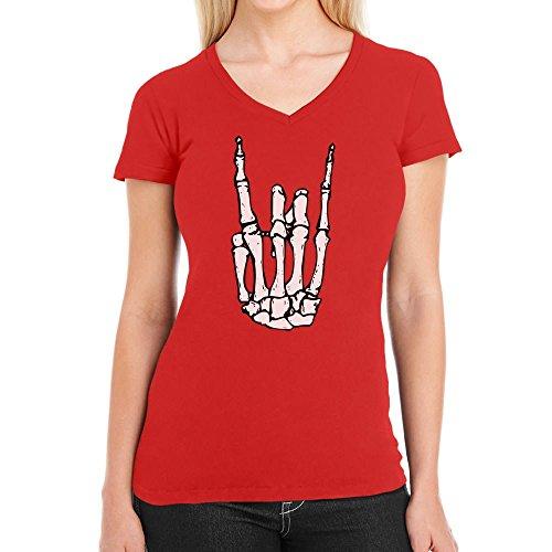 Coole Rock n Roll Skelett Hand Halloween Damen T-Shirt V-Ausschnitt Large Rot