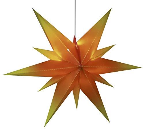 fensterstern 60 cm Fensterstern Adventstern Innen & Außenstern Durchmesser 60 cm - Tiefe 19 cm in rot-gelb , Klappsystem mit 11 Zacken aus Kunststoff, inkl. 3 m Außen-Kabel mit LED Beleuchtung. Design aus dem Vogtland