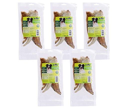Dehner Hundesnack, Kaninchenohren mit Fell, 5 x 100 g (500 g)