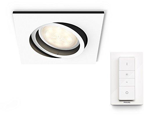 Philips Hue White Ambiance LED Einbauspot Milliskin inkl. Dimmschalter, dimmbar, alle Weißschattierungen, steuerbar via App, weiß, eckig, kompatibel mit Amazon Alexa (Echo, Echo Dot)