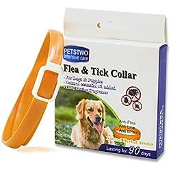 Collar de pulgas y garrapatas para todo tipo de perros y gatos natural del aceite esencial 1-Pack