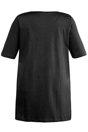 Ulla Popken Damen T-Shirt A-Line, Brusttasche Schwarz (Schwarz 10)