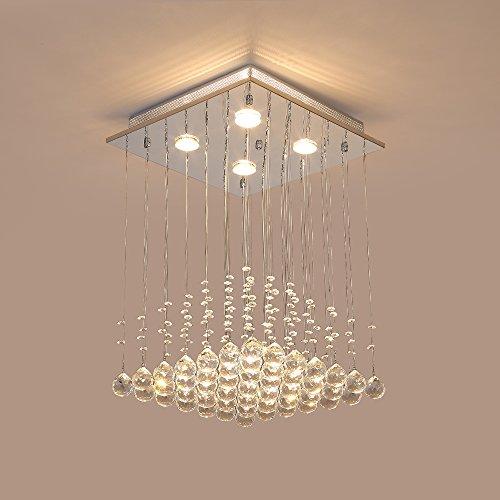 Saint Mossi ® Modern Unterputzmontage Regen Fallen Kronleuchter Kristall Leuchter Viereck entworfen Deckenleuchte