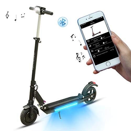SUPERTEFF Patinete eléctrico, Scooter eléctrico, Patinete eléctrico Adulto, patinetes eléctricos, Freno eléctrico, Pantalla LCD, Altavoz de música, Luz Inferior, Bluetooth, App (Black)