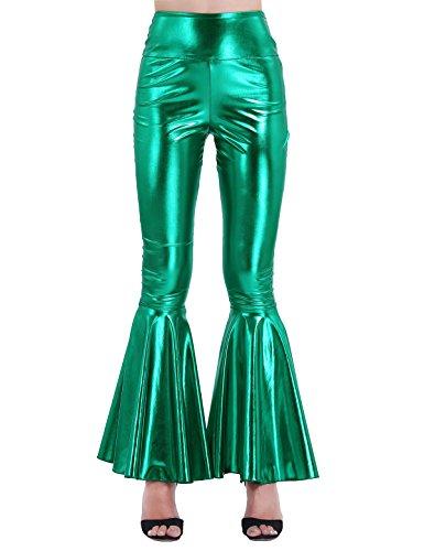 iixpin Damen Schlaghosen Elegant Mitte-Taile Hosen Lange Dünne Schlank Hosen Metallic Bell-Bottom Pants Club Karneval Kostüm S-XXL Grün...