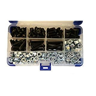 AHC K-10039 367Pc Black Socket Button Head Setscrews with Washers and Nuts M6 6MM