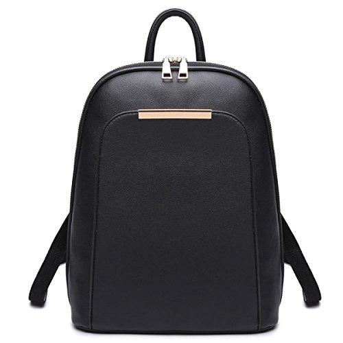Rucksack Frauen Damen Rucksack PU Casual Student Bag Black