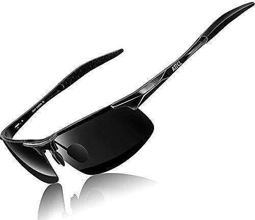 ATTCL Herren Polarisierte Treiber Glasses Sport Sonnenbrillen Al-Mg Metallrahme Ultra leicht 8177 Black