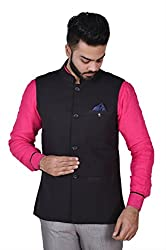 Wearza Mens Black Woven Cotton Linen Sleevless Nehru and Modi Jacket Ethnic Style For Party Wear.