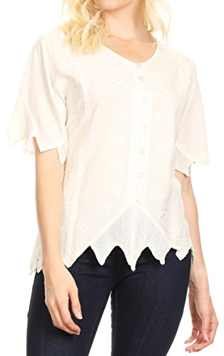 Sakkas 1668 - Emma Damen Stonewashed V-Ausschnitt Kurzarm Bluse Top Crochet Button Down - Elfenbein - L - Trim V-neck Kurzarm Top