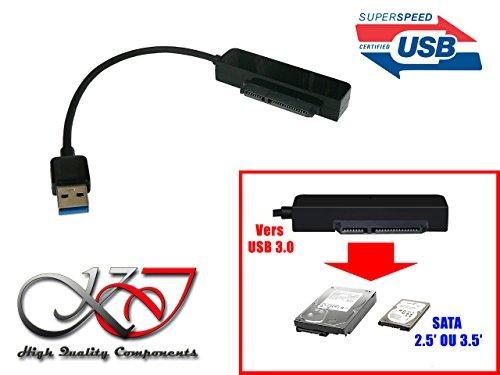 """'KALEA-INFORMATIQUE-Convertitore adattatore SATA verso USB 3.0(USB3SuperSpeed 5GBps)-per dischi SATA in 2.5""""o 3.5-Compatibile Windows 2000, Me, XP, Vista, Seven, 8, 10, Linux e Mac"""