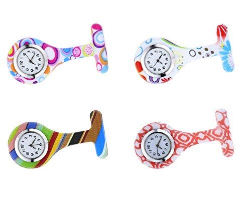 (Satz von 4) Silikon-Gelee-Krankenschwester-Fob-Uhr-Brosche-Revers-Stift-Taschen-Uhr mit - Revers-stifte